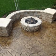 Stamped Concrete Patio with Landscaping Wall Retaining Wall ...
