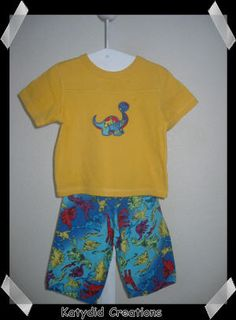 Cute shorts and top set from Designs by JuJu Dinosaur collection