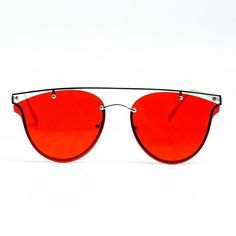 Melrose Sunglasses BY YHF Red lenses sunglasses with metal frame.