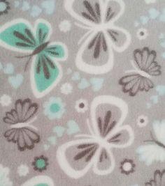 Nursery Fabric- Butterflies On Gray Fleece at Joann.com