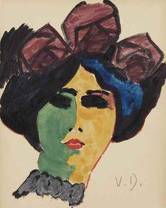 Kees van Dongen (1877-1968)  Portrait de femme au chapeau