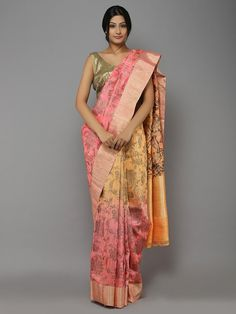 Peach-Pink-Yellow Ombre Handwoven Dupion Silk Saree