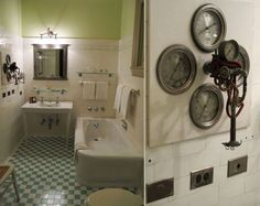 Bathroom in DuPont Mansion, Wilmington, DE, c. 1910 featuring ear cleansing device.