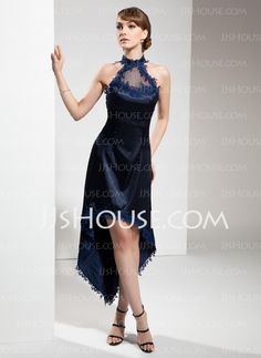 Cocktail Dresses - $133.29 - A-Line/Princess Halter Asymmetrical Tulle Charmeuse Cocktail Dress With Lace (016008531) http://jjshouse.com/A-Line-Princess-Halter-Asymmetrical-Tulle-Charmeuse-Cocktail-Dress-With-Lace-016008531-g8531
