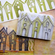 An original hand carved stamp of a row of houses. Every one of my stamps is hand carved and a unique one off. I draw the design on the carving block then Gelli Plate Printing, Stamp Printing, Printing On Fabric, Homemade Stamps, Make Your Own Stamp, Keramik Design, Stamp Carving, Tampons, Fabric Painting