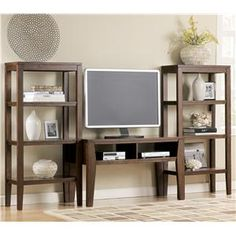 Signature Design by Ashley Deagan Contemporary TV Stand with 2 Pier Open Bookcases - Marlo Furniture - Wall Unit