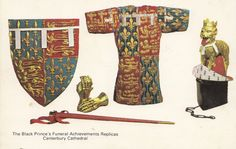 The Black Prince s funeral achievements replicas Canterbury cathedral postcard