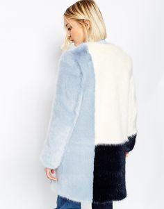 Image 2 of ASOS WHITE Color Block Faux Fur Coat