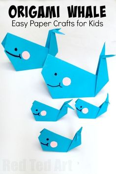 Easy Origami Whale - Paper Crafts for Kids - Red Ted Art - Make crafting with kids easy & fun - Easy Origam Whale for Kids. Super cute, fun and easy whale – a great paper craft for beginner origami kids. How to make an origami whale kid's crafts Paper Crafts For Kids, Diy Paper, Projects For Kids, Paper Crafting, Art Crafts, Foam Crafts, Paper Paper, Simple Paper Crafts, Decor Crafts