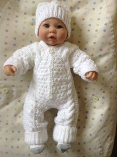 Knitted Snowsuit and Hat Set in White For Preemie or Small Baby. Also Fit inch reborn Doll Ready to Ship Knitting Dolls Clothes, Crochet Doll Clothes, Knitted Dolls, Doll Clothes Patterns, Baby Cardigan Knitting Pattern, Baby Hats Knitting, Knitting For Kids, Baby Hat Patterns, Baby Knitting Patterns