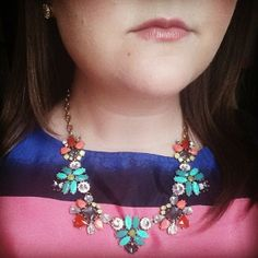 #stelladotstyle Elodie necklace over a colorful striped dress.