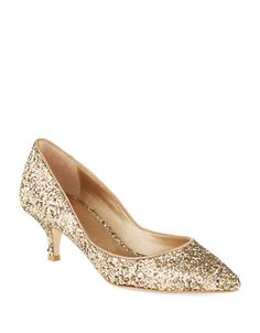 Dazzle the night away in these heels from Belle by Badgley Mischka. Crafted with a pointed toe, kitten heel and a glitter design, pair these heels with a sheath dress for ultimate style. Glitter Wedding Shoes, Glitter Heels, Wedding Heels, Glitter Gif, Gold Pumps, Gold Shoes, Pumps Heels, Gold Kitten Heels, Kitten Heel Shoes