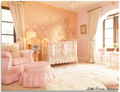 Glamour & Old Hollywood Baby Nursery. Pink & gold, love white fur, chandelier, the wallpaper is extra fabulous!