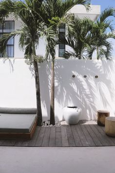 One-of-a-kind, three bedroom luxury villa located in Berawa, Canggu. Palm Trees Landscaping, Backyard Landscaping, Indoor Outdoor Living, Outdoor Areas, Exterior Design, Interior And Exterior, California Backyard, Backyard Renovations, Swimming Pools Backyard