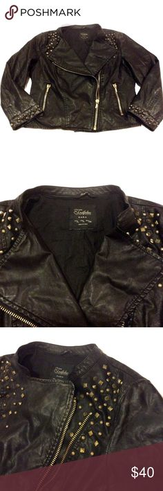 Zara Studded Cropped Leather Jacket Worn often, only major sign of wear is the discoloring near the left shoulder (pic 3). Some wrinkling from being in storage. No studs missing, zippers are functional. Studs and zippers are gold and leather is black. Faux leather and 3/4 sleeve. No trades or lowball offers please. I will provide measurements very soon when I get the chance! Zara Jackets & Coats