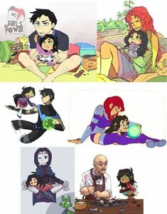 Teen Titans Raven and Beast Boy Teen Titans Love, Teen Titans Fanart, Original Teen Titans, Robin Starfire, Nightwing And Starfire, Beast Boy, Dc Heroes, Marvel Dc Comics, Comic Character