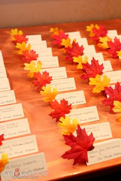 An easy way to dress up your place cards for a fall wedding!  #NJ #Wedding #Photography  #Untouchable #Entertainment
