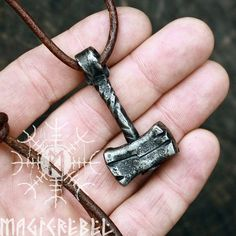 Solid Iron Handmade Viking Heavy Thor Hammer Mjolnir Looking Device Pendant - Thors Hammer, Thor's Hammer Mjolnir, Viking Jewelry, Metal Jewelry, Vikings, Blacksmith Forge, Leather Necklace, Blacksmithing, Metal Art