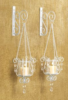 out of stock Free-swinging Votive sconce pendant metal hanging wall glass pair Love Gifts For Her, Old Bottles, Wrought Iron, Wall Sconces, Metal Working, Beautiful Homes, Candle Holders, Chandelier, Ceiling Lights