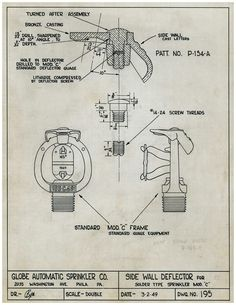 Globe's Engineering Archives: 1949 design drawing for a Model C Vertical Sidewall Sprinkler. Little is known about this sprinkler, or if it was ever put into production. The Model C was largely phased out by the mid-1940s in favor of the streamlined Model D SaveAll sprinkler – and Globe does not have any physical examples of a Model C VSW. Vertical Sidewall Sprinklers are installed against a wall in either the upright or pendent position, and discharge water in a downward/outward spray…