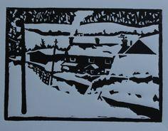 Calfway Farm. Wood engraving, 2013. 13 x 10cm. Steven Hubbard.