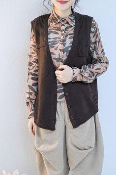 702c74edda Korea Style Casual Knitted Waistcoat Women Loose Tops Q2127