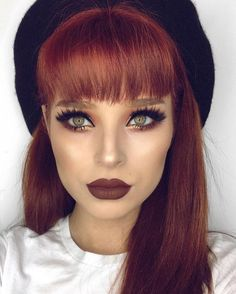 Obsessed with this dark brownish/red lip and matching hair.