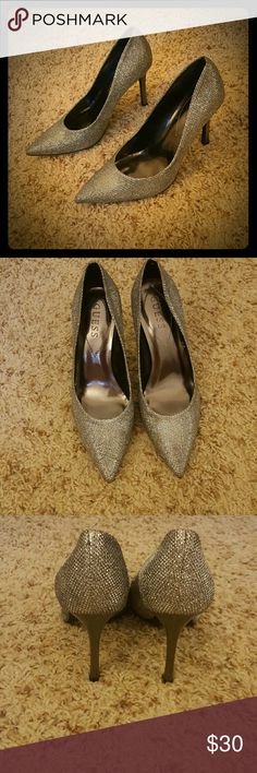 Guess sliver sparkle pumps Guess silver sparkly pumps. Pointed toe. Only worn once. Guess Shoes Heels
