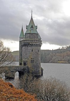 Straining Tower at Lake Vyrnwy, Wales - This tower is part of the dam complex and used to strain water. The entire village is an amazing site to see.