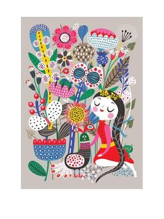 Fiona's Garden Poster - Illustatrion Helen Dardik. Human Empire Store