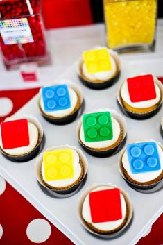 While some contend birthday cake is best, it's hard to imagine anyone complaining about these Lego cupcakes. | How To Throw The Ultimate LEGO Birthday Party