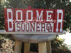 OU Boomer Sooner Wood Block set by ScrapCrazyDesigns on Etsy, $25.50