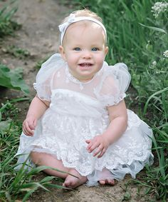 Loving this White Lace Puff Sleeve Bubble Dress - Toddler & Girls on #zulily! #zulilyfinds