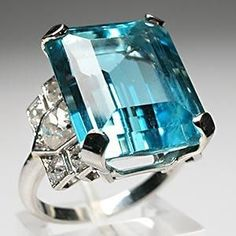 ART DECO ANTIQUE NATURAL AQUAMARINE & DIAMOND COCKTAIL RING SOLID PLATINUM