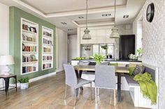 Zielone ściany: projekt salonu w stylu skandynawskim z kolorem zielonym na ścianie!