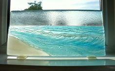 Seaside Upstand - The Beach - fused glass windowsill panel 17cmx40cm on Etsy, $124.09