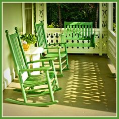 Spring colors on this inviting porch