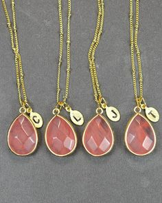 Peach necklace Coral necklacechampagne by thefabwedding2 on Etsy, $29.99