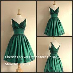 Vintage Style Short hasta la rodilla esmeralda verde dama de honor vestidos de nuevo tafetán V criada de las novias de honor vestidos de(China (Mainland))