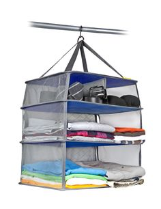 fold all your clothes then smoosh the shelves to go in luggage. easy access in hotel closet!