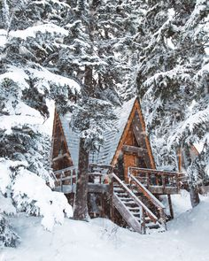 Cozy, snow-covered log cabin in the winter. Winter Cabin, Cozy Cabin, Cozy Winter, Snow Cabin, Winter House, Cabin Homes, Log Homes, A Frame House, Winter Scenery