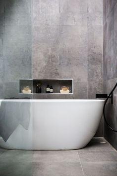 Bathroom Ideas Modern Bathroom Shower Jacuzzi bathtub Washbasins Decor In Grey Bathroom Tiles, Bathroom Renos, Grey Bathrooms, Laundry In Bathroom, Modern Bathroom Design, Beautiful Bathrooms, Bathroom Interior, Bathroom Ideas, Grey Tiles