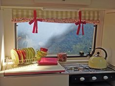sweet caravan curtains....Elvie, Our Little Vintage Caravan