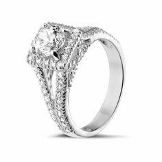 Bagues Diamant Or Blanc - 1.00 carats bague solitaire diamant en or blanc avec diamants sur les côtés
