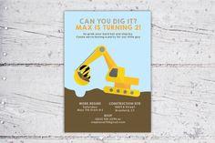 Can You Dig It Construction Equipment Birthday Invitation   5x7   Print-It-Yourself   Digital Download   Printable   Custom Invitation