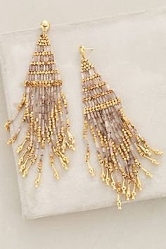 at anthropologie Luminescent Fringe Earrings Fringe Earrings, Seed Bead Earrings, Women's Earrings, Beaded Jewelry, Handmade Jewelry, Jewellery, Bijou Box, Jewelry Accessories, Jewelry Design