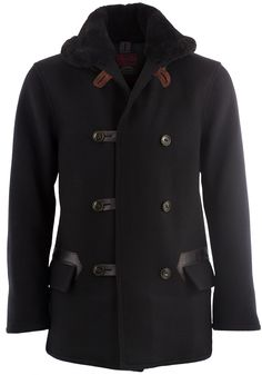 An extremely substantial coat. Made with the hyper-attention to detail for which this brand is famous.100% thick, warm melton woolGenuine sikly-soft shearling collarInterior fully lined in smooth cupraDouble-breasted closureBakelite-style buttons with...