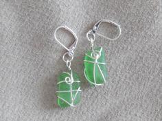 Seaglass earrings - nickel free, 925 silver plated hooks Sea Glass, 925 Silver, Hooks, Silver Plate, Glass Beads, Drop Earrings, Crystals, Free, Color