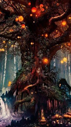 Image d'arrière-plan Old Tree, Fantasy, Art – Garden Plants Ideas Fantasy Art Landscapes, Fantasy Landscape, Fantasy Artwork, Landscape Art, Tree Wallpaper, Scenery Wallpaper, Spring Wallpaper, Mobile Wallpaper, Fantasy Forest