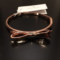 "❗️ ONE DAY SALE ❗️ Rose Gold Kate Spade Bracelet NWT Rose Gold Bow bracelet by Kate Spade. Diameter 2.25"" fits wrists up to 8"". kate spade Jewelry Bracelets"